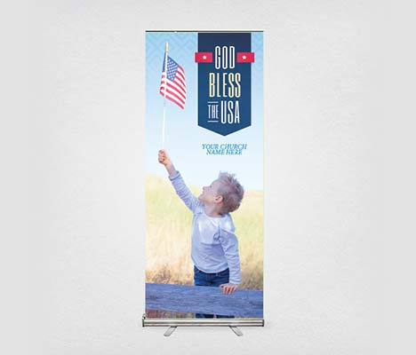Church Banner God Bless The USA